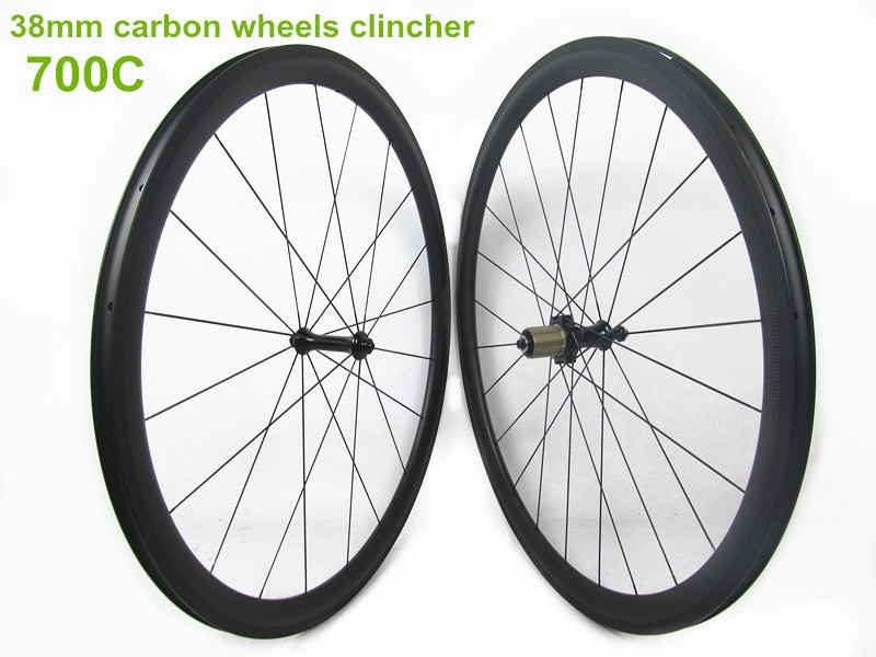 20.5mm width 38mm clincher carbon bicycle wheels with carbon hub