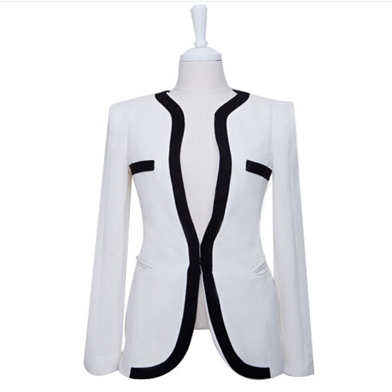 White Women Blazer 2015 New Fashion Single Button Slim Fit Blazers And Jackets Plus Size XL Women Casual Blazer Suit Black WBL23
