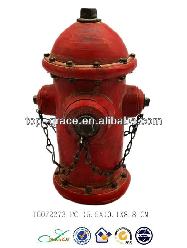 fire hydrant model polyresin antique decor gifts with t-lite