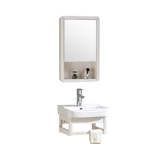Modern bathroom cabinet vanity hotel style towel rack wall hung mounted cabinet set with mirror and basin small size vanity