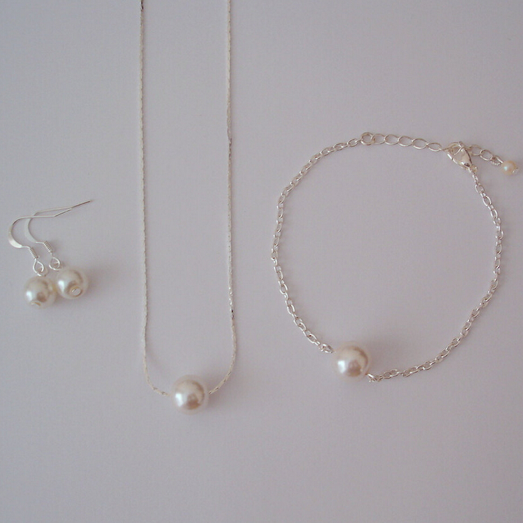 Sterling Silver pearl Bracelet One Pearl Bracelet Bridesmaid Bracelet Gift Floating Pearl Bracelet Bridal Bracelet Single Pearl Bracelet