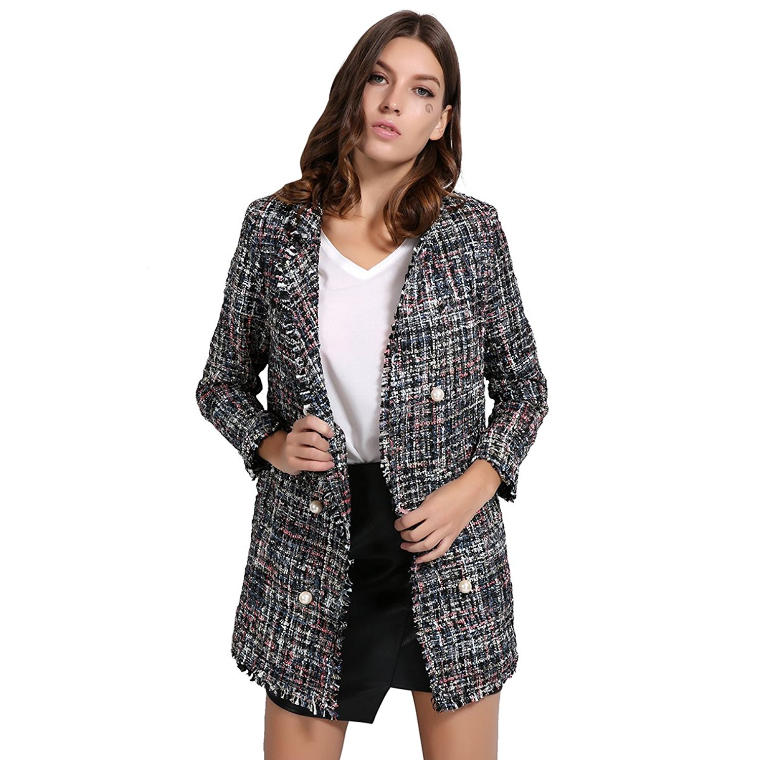 0e3c7b0f949 Get Quotations · GCAROL Women s Open Front Tweed Blazer Jackets Coats
