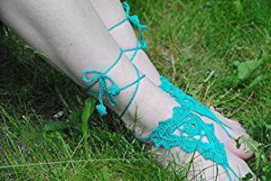 Green Wedding Sandals,Wedding Accessory,Sexy Beach Sandals, Crochet Barefoot Sandals, Barefoot Sandals , Crochet Anklet, Sexy Lace Sandals,Beach,Wedding Footwear, Bridesmaid Sandals (Green-01)