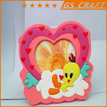 mini heart shaped rubber photo frame ornate with with fancy decorative border/rubber photo frame