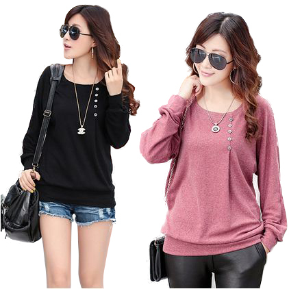 NEW 2016 European Autumn Winter Elegant Woman s Tops O Neck Long Batwing Sleeve Shirt Women