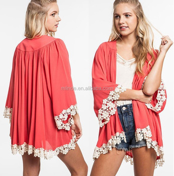 Crochet Trim Solid Pleated Kimono Cardigan - Buy Crochet Trim ...