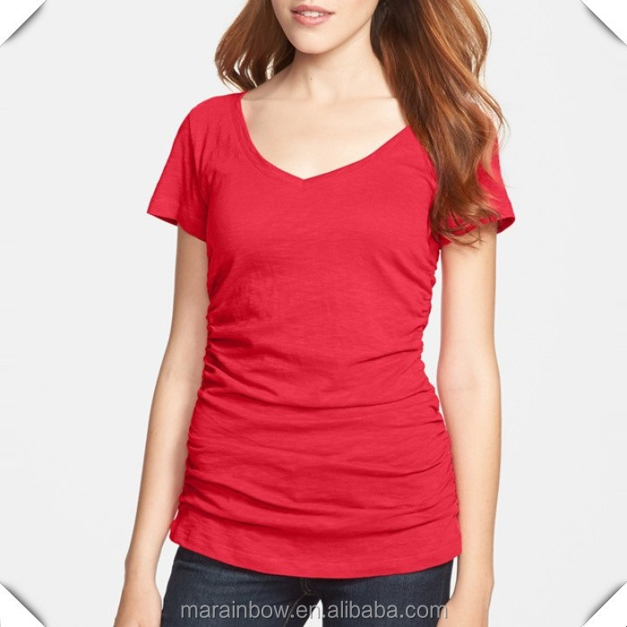 Black Cotton Plain Women Summer Deep V Neck T Shirts White Blank ...