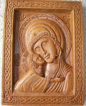 Hand Carved Aromatic Icon Virgin Madonna & Child Panagia Christian Gift  Made By Pure Beeswax,Mastic And Incense - Buy Christian Religious Art Icons