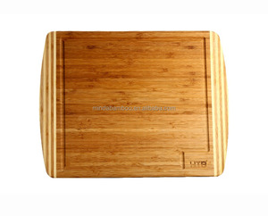 18x12 inch square reversible drip groove bamboo wood cutting board