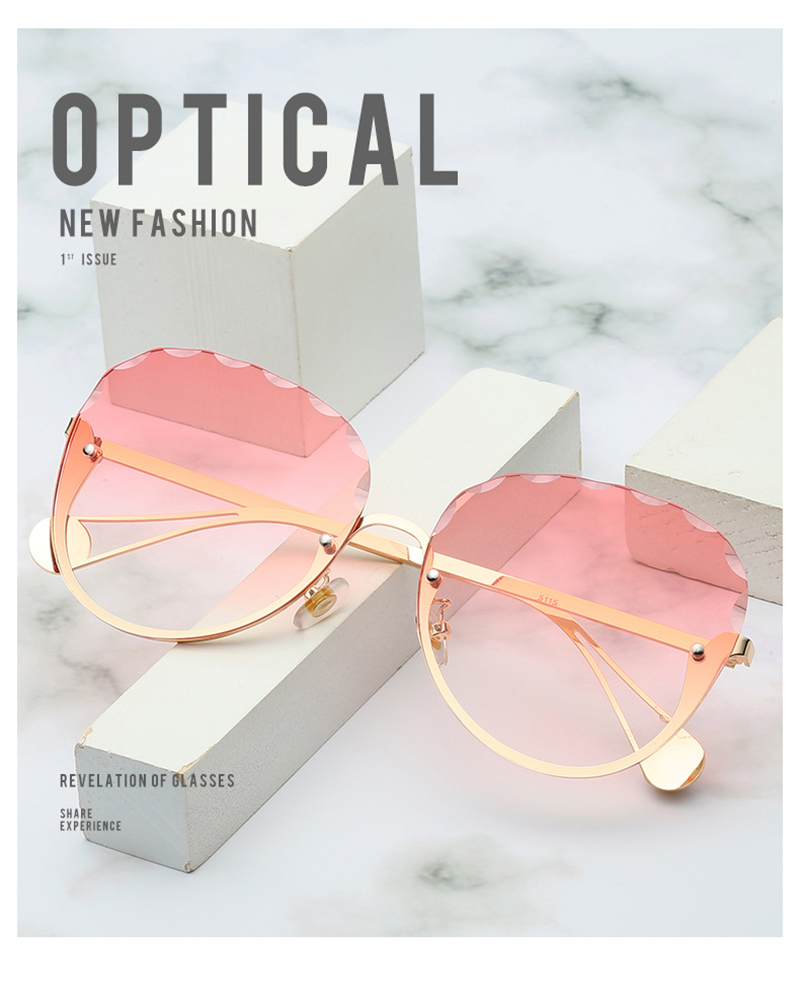 Wholesale Pearl Temple Round Metal Semi-Frame Designer Women Sunwear