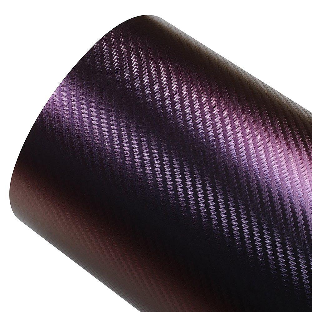 AUMO-mate® 50cmx1.52m Chameleon Carbon Fiber Vinyl Film Wrap Color Change Car Sticker Auto Body Films Red copper