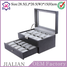 20 grids wrist watch storage box , watch display case glass top