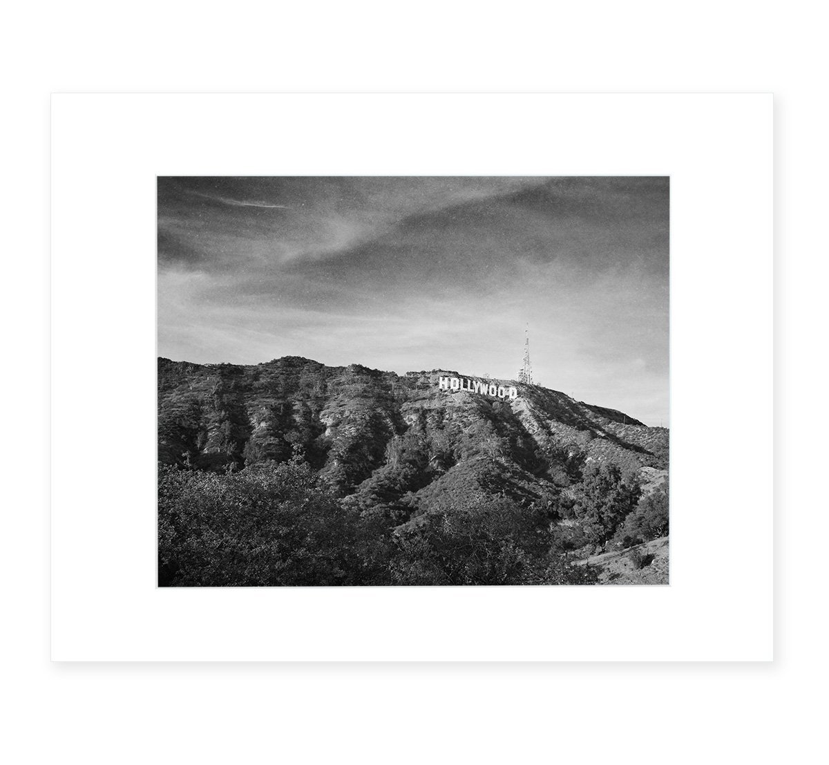 Hollywood Sign Black and White Vintage Wall Art, Tinseltown Landscape Decor 8x10 Matted Photographic Print (fits 11x14 frame), 'Old Hollywood'
