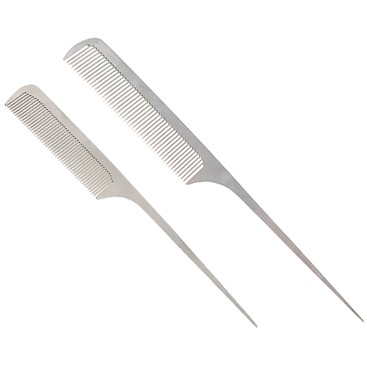 Silver Stainless <strong>steel</strong> hairdressing wholesale salon barber <strong>hair</strong> cutting <strong>comb</strong> metal tail <strong>comb</strong>