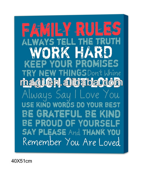 Family Rules Vintage Canvas Oil Painting