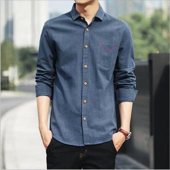 Sh20113a Мужская рубашка мужская с длинным рукавом Ретро корейский стиль  Тонкий хлопок Повседневная рубашка 002d2e7a4243e
