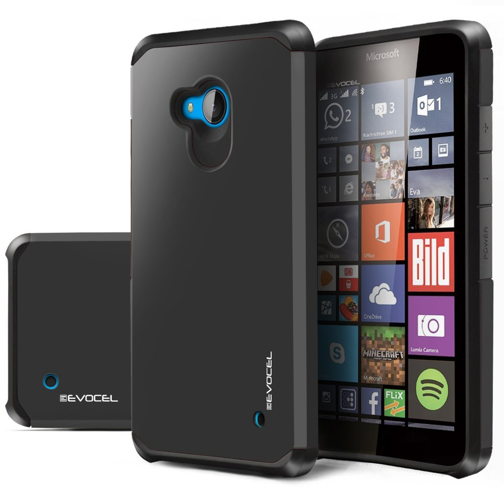 Evocel® Lumia 640 [Dual Layer Series] Hybrid Armor Protector Case For Microsoft Lumia 640 - Retail Packaging, Slate (EVO-NK640-SA01)