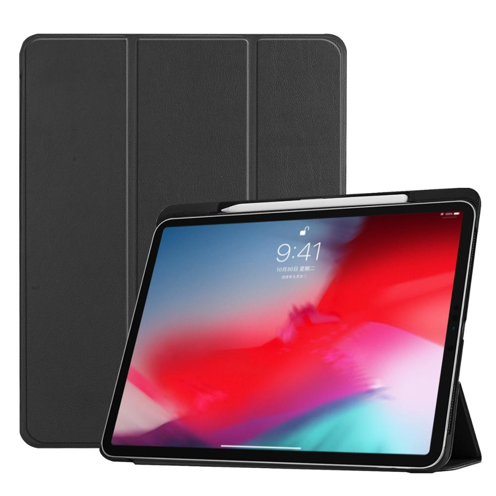 High Quality Smart Wake Flip Cover Tablet Case PU Leather Stand View Flip Case With Pencil Holder For <strong>ipad</strong> Pro 11