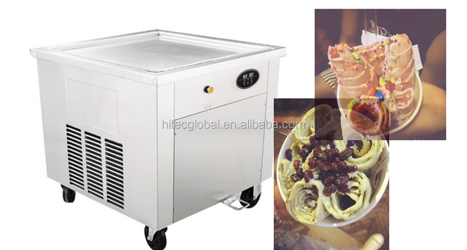2017 Square Single Pan Fried Ice Cream Machine With 60 cm Pan Size