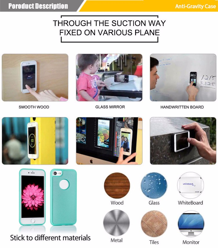 2018 trending products magical nano sticky anti gravity case for iphone X