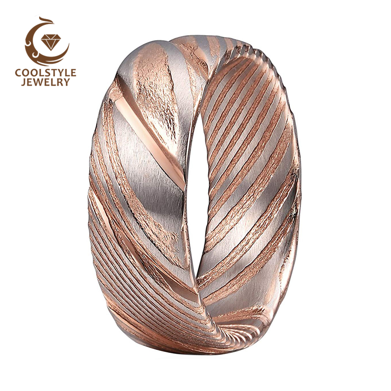 8mm Rose Gold Wedding Bands Damascus Steel <strong>Ring</strong> for Men Women Domed Matte Finish Comfort Fit
