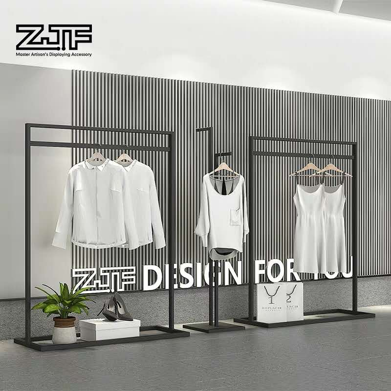 Manufacturing metal black display clothes sample promotion apparel display stand