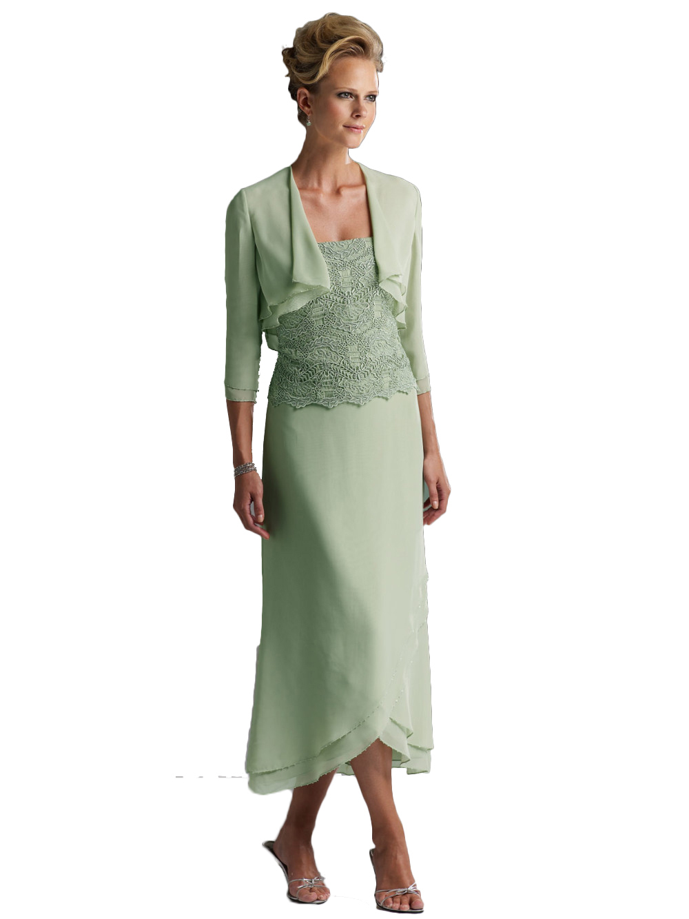 808028b25443f Womens Tea Length Mother Of The Bride Dresses Two Pieces With Jacket ...