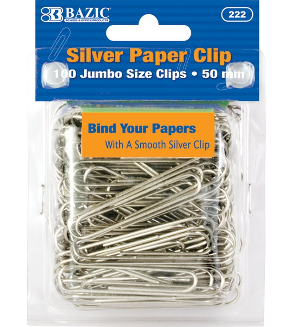 BAZIC Jumbo (50mm) Silver Paper Clip (100/Pack), Case of 24