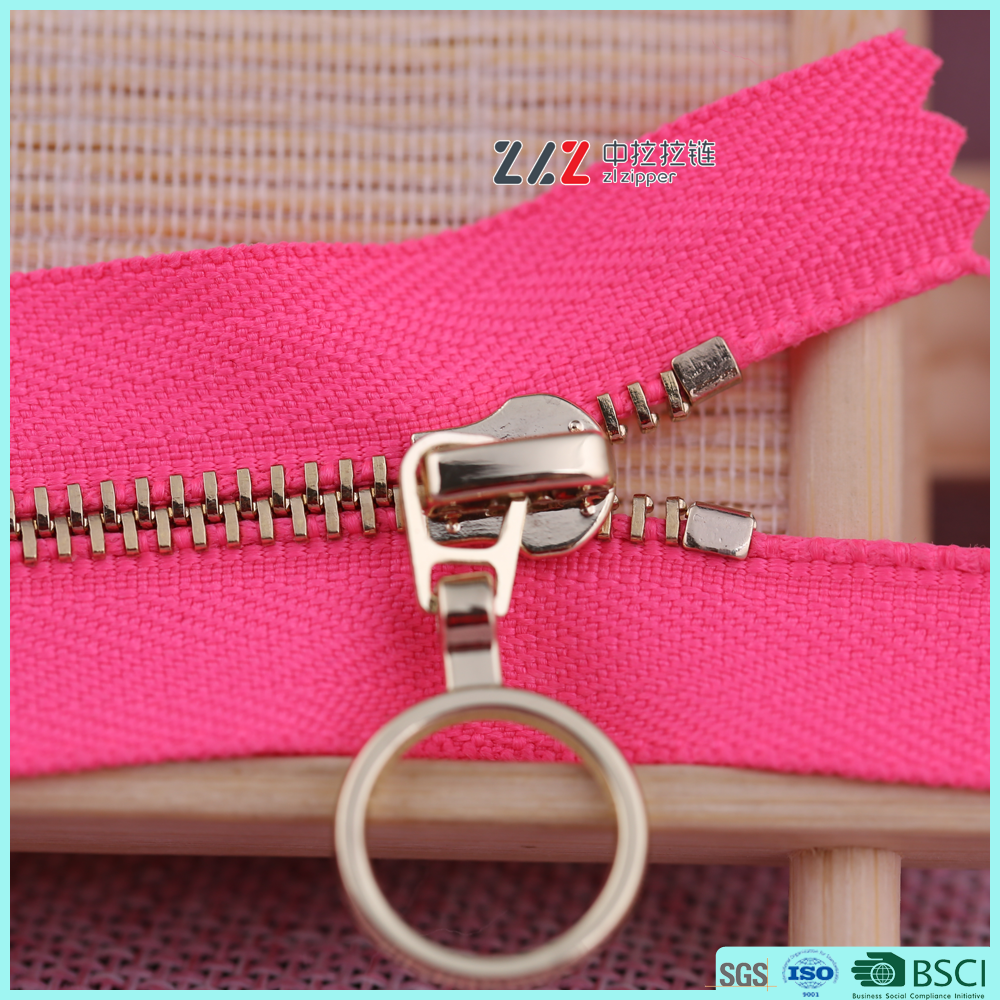 ZLZ brand NO.3 Y Teeth light gold Rose red tape metal zippers closed-end 4inch fashion zipper