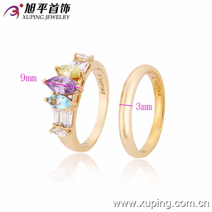 12857-Xuping Elegant Jewelry Gold Couple rings couple with Settings CZ