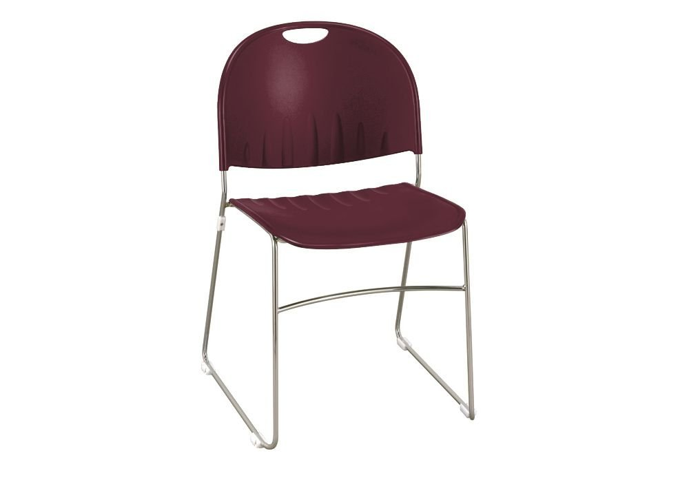 "Polypropylene Stack Chair with Sled Base Dimensions: 20.5""W x 21.25""D x 31.5""H Seat Dimensions: 18""Wx18""Dx18""H Weight: 6 lbs. Burgundy Shell/Chrome Finish"