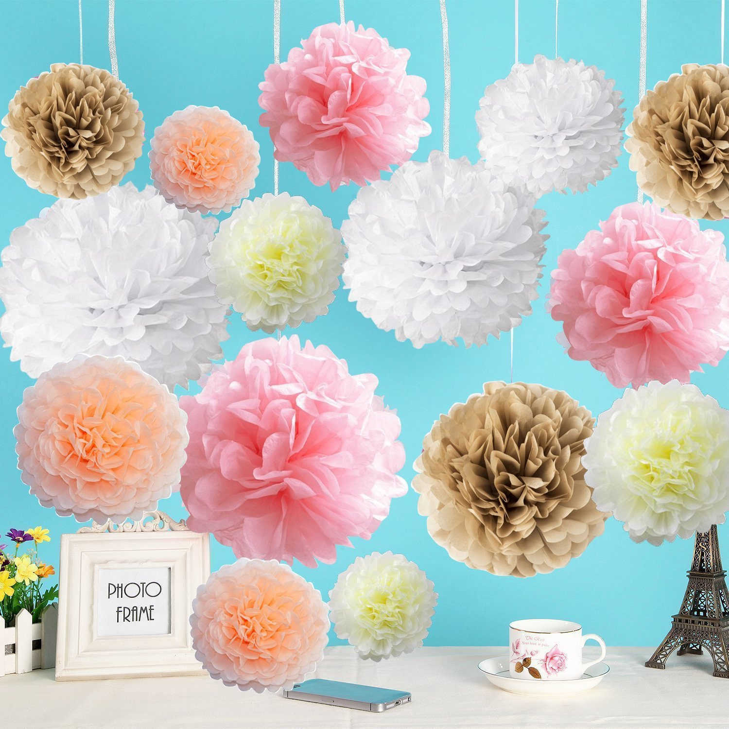 Cheap large hanging paper flowers find large hanging paper flowers get quotations paper flowers fluffy tissue paper pom poms hanging flower ball for baby shower decorations mightylinksfo