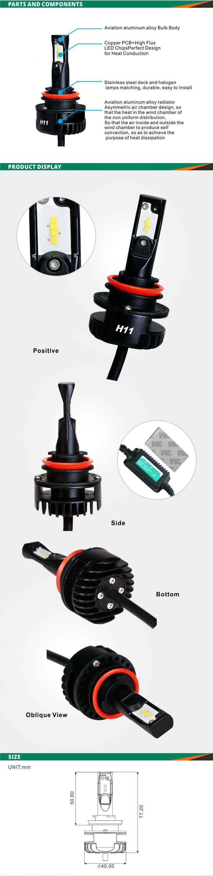 Auto Part waterproof h11 led headlight bulb in high brightness and easy install