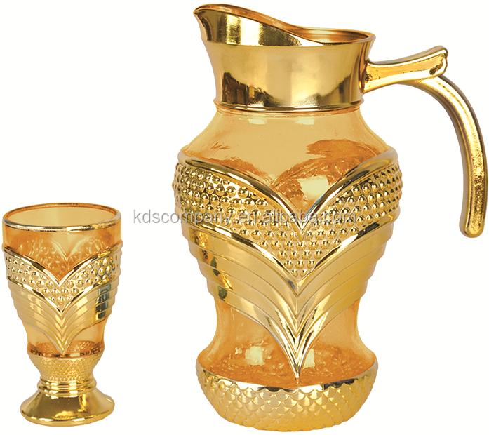 Golden Glass Drinking Set/water Jug Set/glassware Jug Set