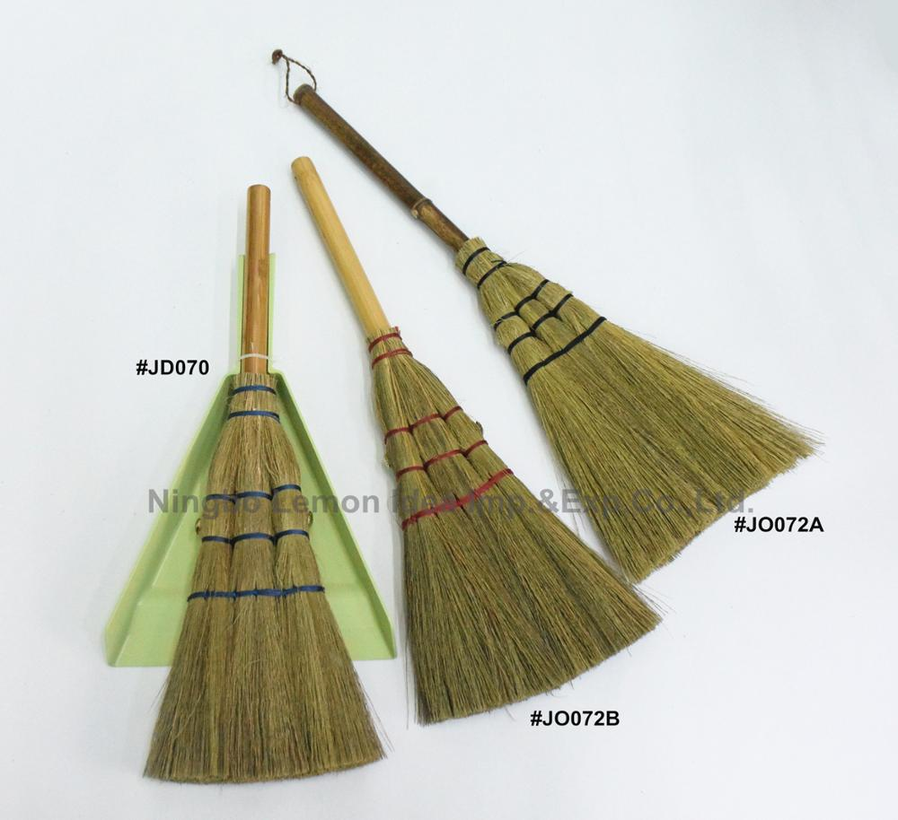 grass cleaning dustpan and brush set with bamboo short handle for home cleaning broom