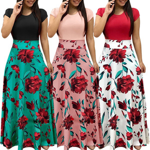 Women's Clothing Flower Print Long Dress 2018 Summer Elegant Ladies Long Party Dress E0300