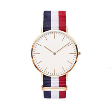 Gold Case and White Dial nato Nylon Stainless Steel watch