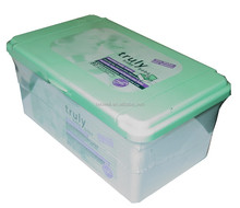 oem factory 80pcs baby wet tissue with plastic box