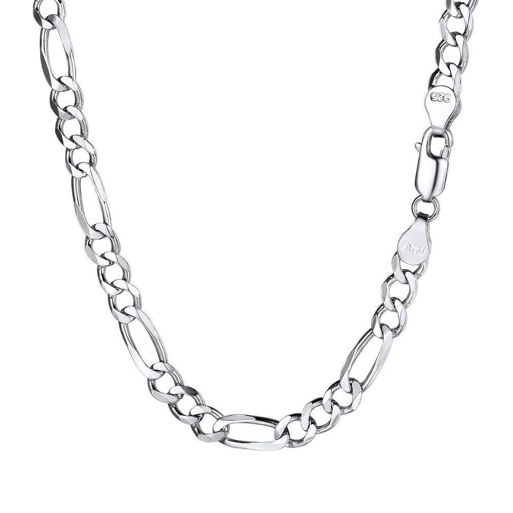 PROSTEEL Stainless Steel/925 Sterling Silver Figaro Necklace, Men/Women Jewelry, 2.9mm/4mm/5mm/6mm/9mm/13mm, 18''/20''/22''/24''/26''/28''/30''
