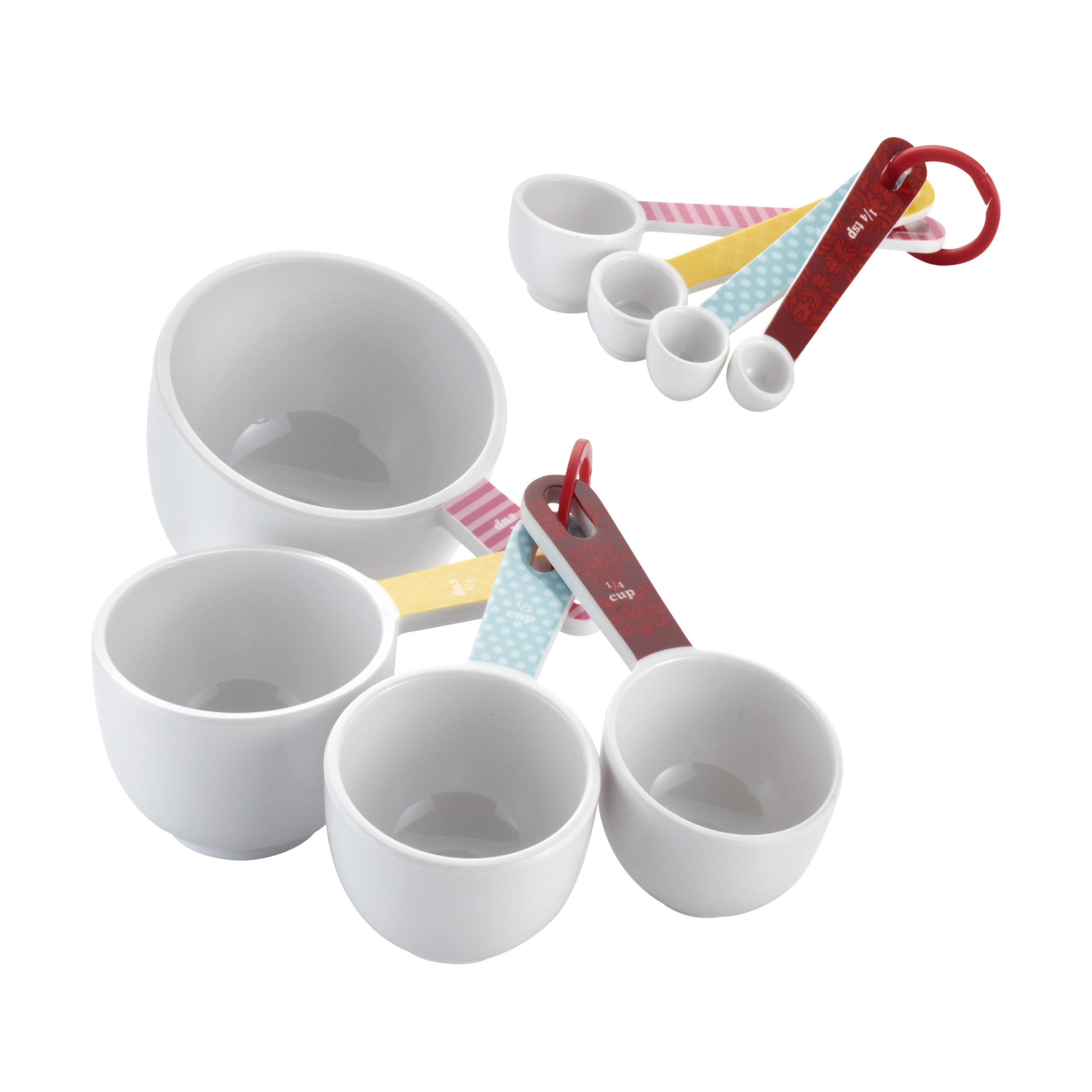 Cake Boss Countertop Accessories 8-Piece Melamine Measuring Cups and Spoons Set, Basic Pattern