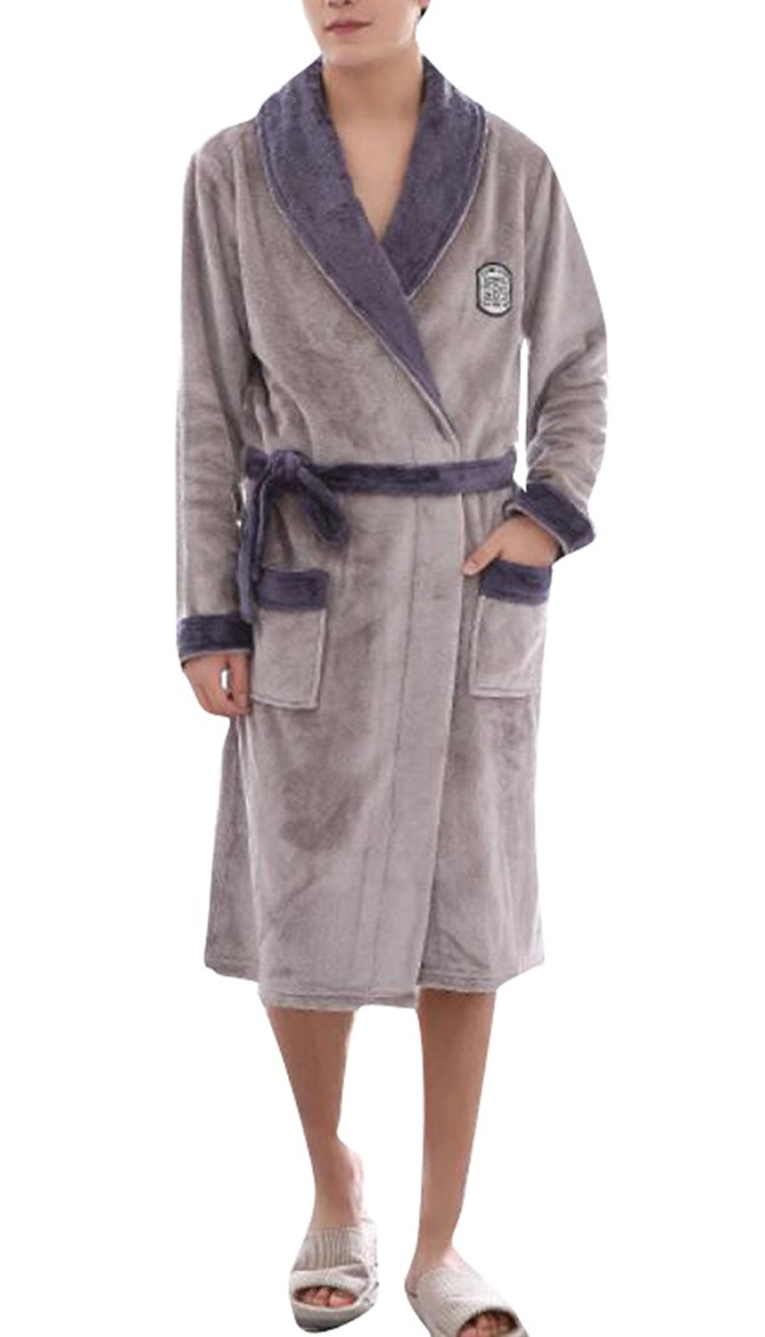 Pandapang Mens Loungewear Silk Belted Lounge Long Sleeve Bathrobe Cozy Robe Robes Sleep Lounge