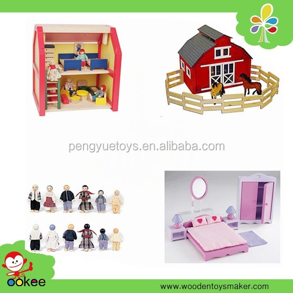 Custom wholesale natural pine wood Bricks House dollhouse miniature construction toys for adults doll house