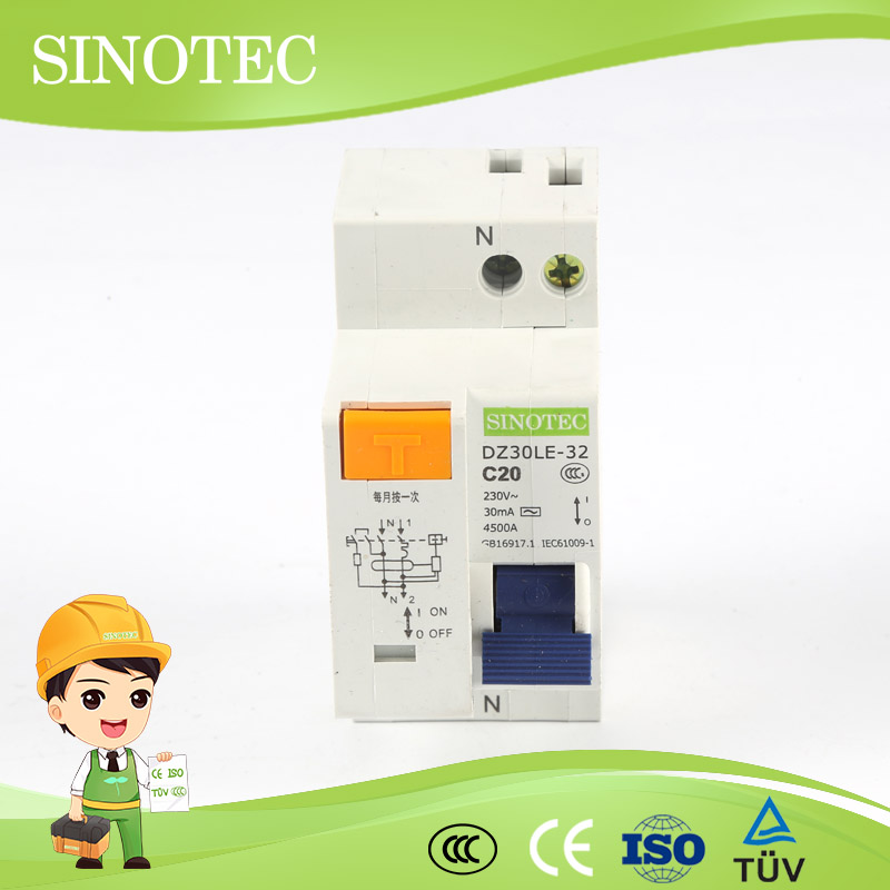 Residual current circuit breaker nocle-100 (rcbo) for industrial automatic self reclosing rccb/elcb