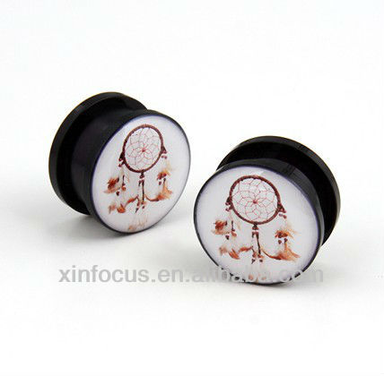 Acrylic Screw White dream catcher native american ear flesh plugs gauges tunnel uv acrylic ear plug