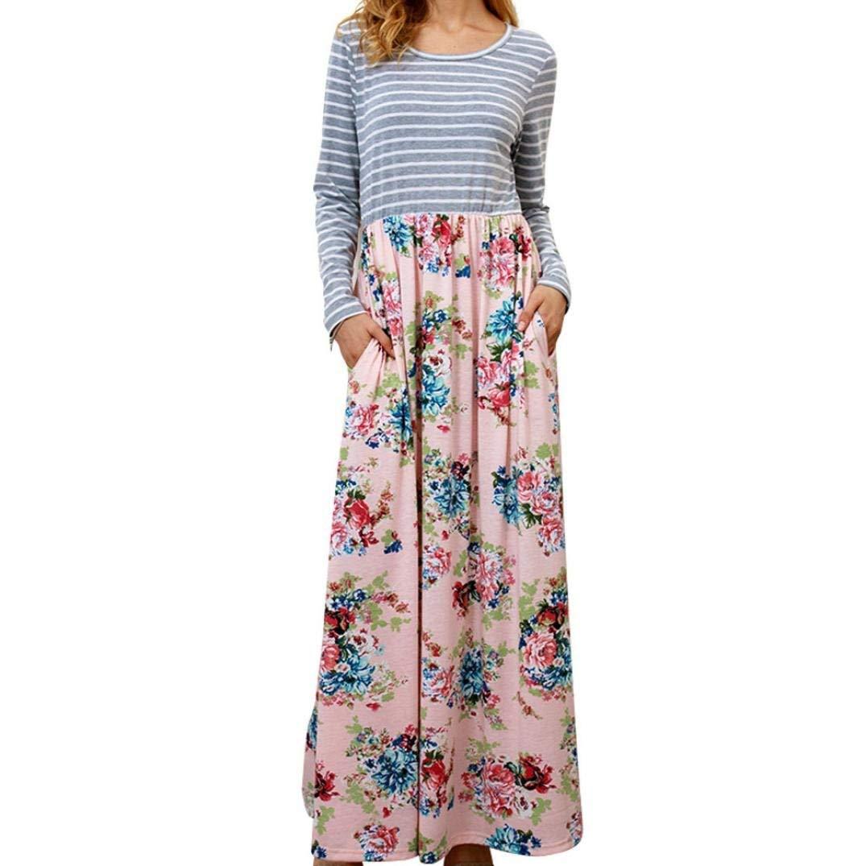 a1296c2fad2a Get Quotations · Women's Floral Print Casual Long Sleeve A-line Loose  T-Shirt Long Maxi Dresses