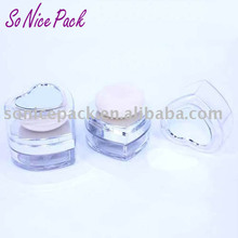 heart shape loose powder case with mirror