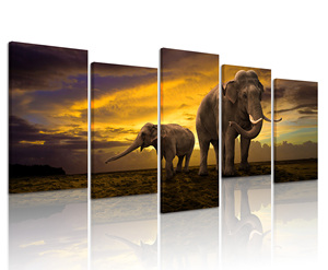 Wall Decoration 5 Panels Sunset Landscape Poster Print Steched and Framed Giant Elephant and Its Kid Wild Animal Canvas Painting