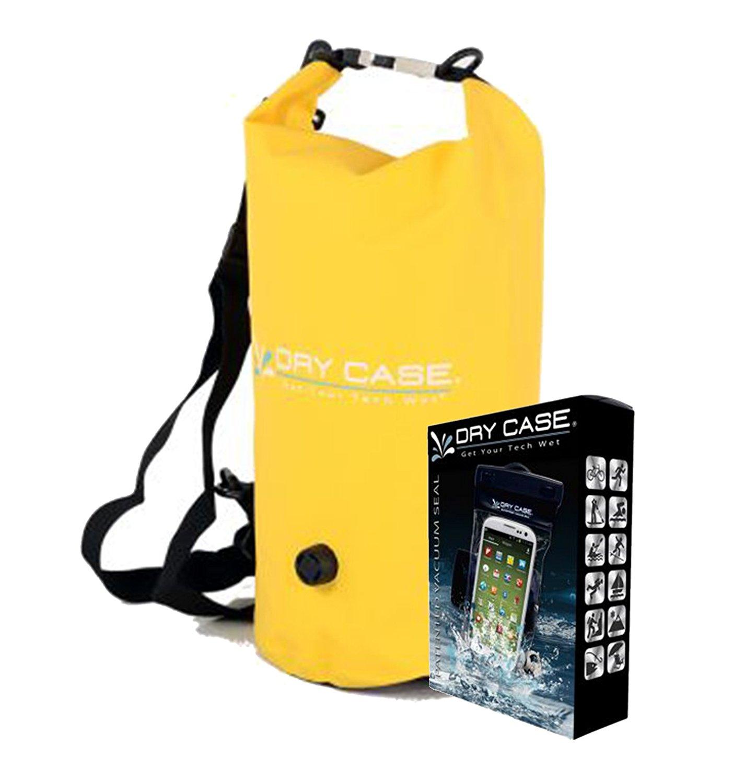 DryCASE DECA 10 Liter Waterproof Dry Bag (Yellow) & DryCASE Vacuum Sealed Waterproof Smartphone Case Bundle