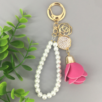 Wholesale jewelry PU alloy bead chain inlay crystal rose flower keychain