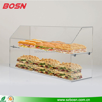 Wholesale clear 2 layer acrylic bread display rack Perspex no locking countertop case for bakery store